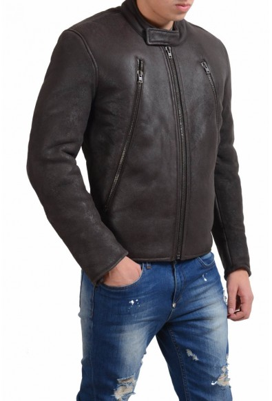 Maison Martin Margiela Men's Leather Shearling Brown Jacket: Picture 2