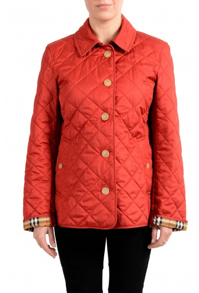 Burberry Women's Red Quilted Button Down Jacket Coat