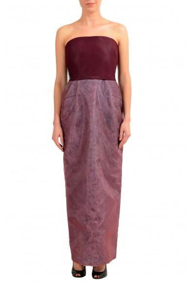 Maison Margiela Women's Burgundy Painted Corset Maxi Dress