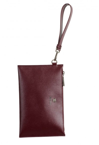 Versace 100% Leather Burgundy Women's Wristlet Clutch: Picture 2