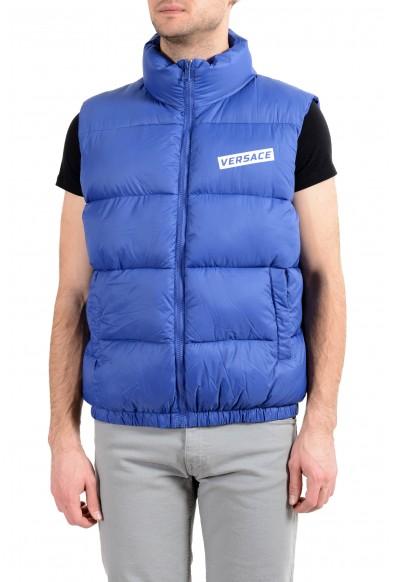 Versace Men's Blue Logo Full Zip Sleeveless Parka Vest
