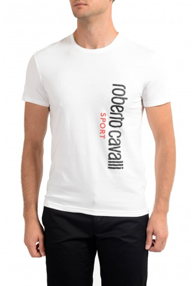 """Roberto Cavalli """"SPORT"""" Men's White Stretch T-Shirt"""