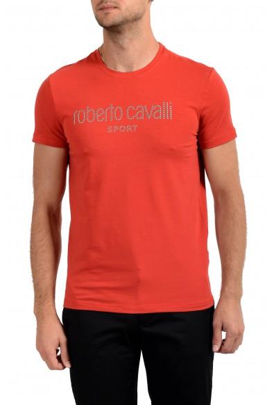 "Roberto Cavalli ""SPORT"" Men's Red Embellished Stretch T-Shirt"