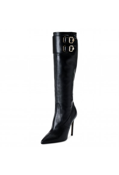 Versace Collection Women's Leather Boots High Heel Boots Shoes