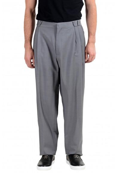 Versace Men's Wool Mohair Silk Gray Pleated Dress Pants