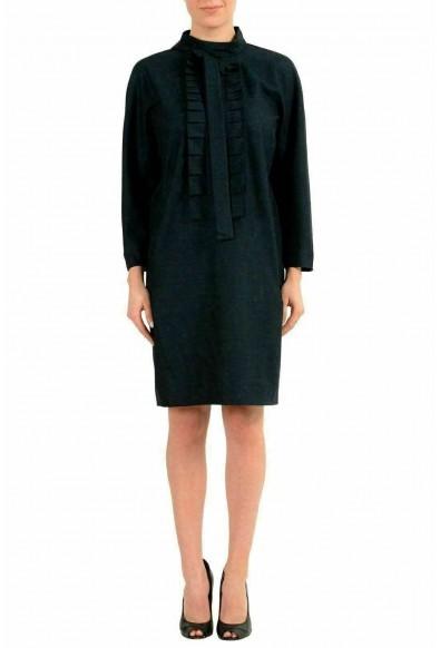 Maison Margiela 1 Women's Wool Greenish Long Sleeve Sheath Dress