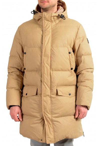 "Hugo Boss Men's ""Dervin"" Beige Hooded Long Down Parka Jacket"