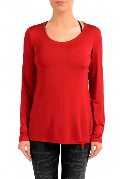 Versace Jeans Women's Red Crewneck Long Sleeve Top