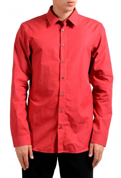 Jil Sander Men's Red Long Sleeve Dress Shirt