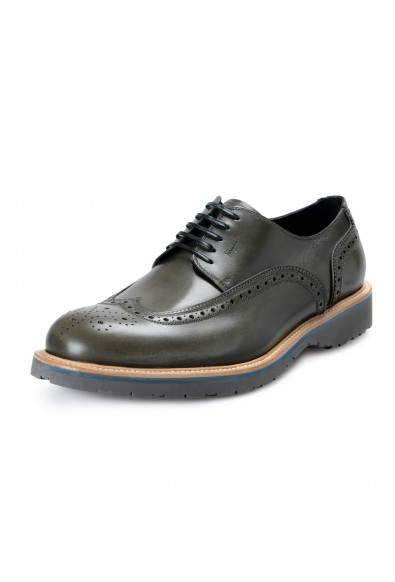 Salvatore Ferragamo Men's FUERTE Green Leather Oxfords Shoes