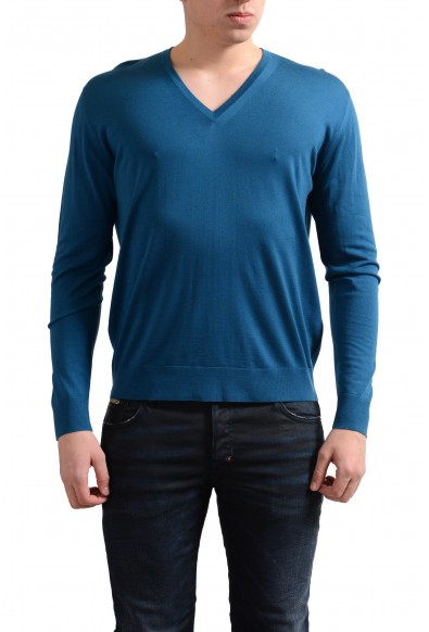 Prada Men's 100% Wool Blue V-Neck Pullover Sweater