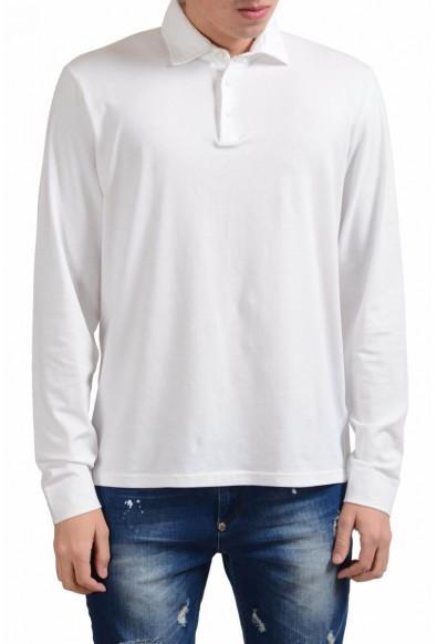 Malo Men's White Stretch Long Sleeve Polo Shirt
