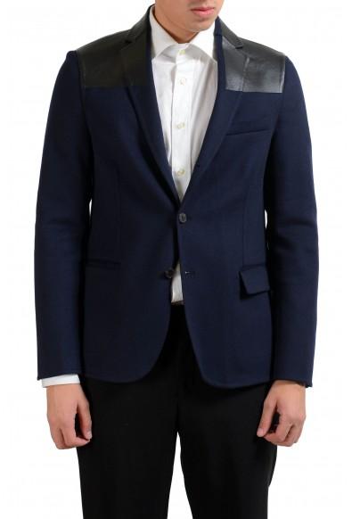 Valentino Men's Cashmere Leather Wool Blue Blazer Sport Coat