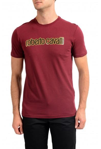 Roberto Cavalli Men's Burgundy Graphic Print Crewneck T-Shirt