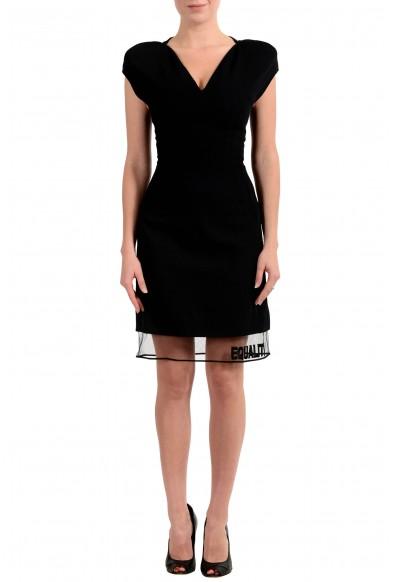 Versace Women's Wool Black Sleeveless Sheath Dress