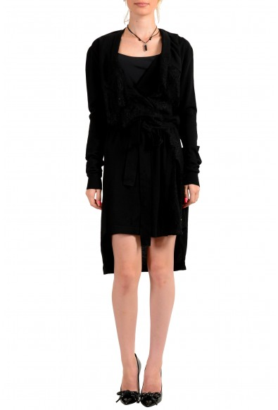 Just Cavalli Women's Black 100% Wool Lace Trimmed Belted Sweater