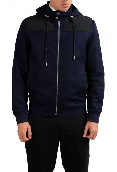 Christian Dior Men's Blue 100% Wool Full Zip Hooded Jacket