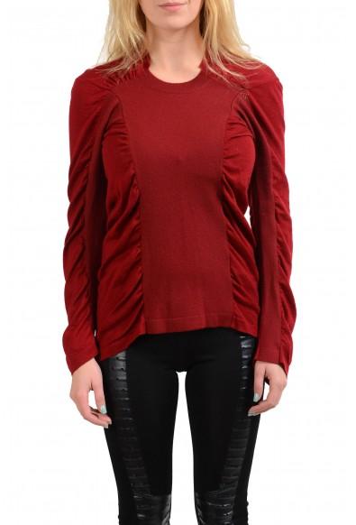 Maison Margiela 1 100% Wool Burgundy Women's Crewneck Sweater