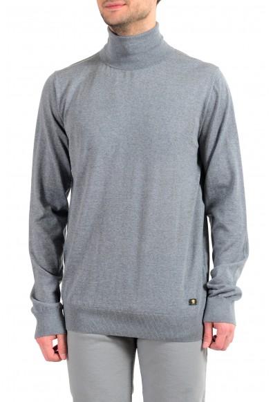 Versace Men's 100% Wool Gray Turtleneck Pullover Sweater
