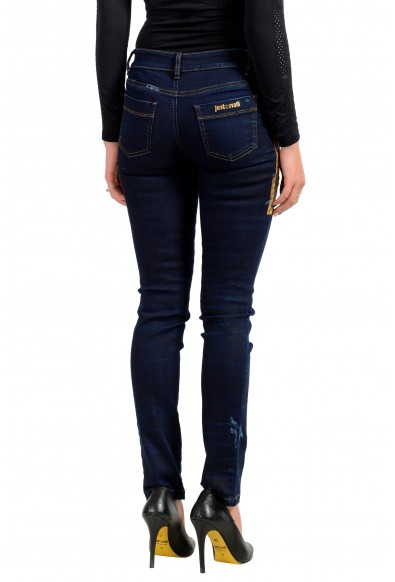 Just Cavalli Women's Distressed Dark Blue Jeggings Jeans : Picture 2