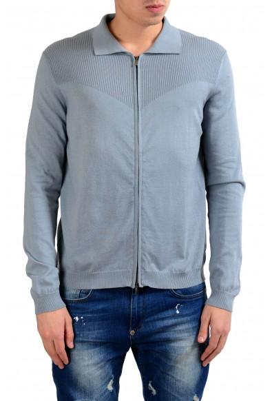 Malo Stone Blue Men's Cashmere Full Zip Sweater