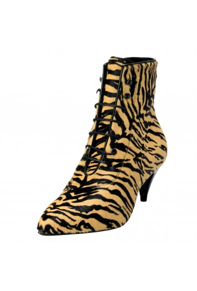 Saint Laurent Paris Pony Ziger Women's Pointed Toe High Heels Ankle Boots Shoes