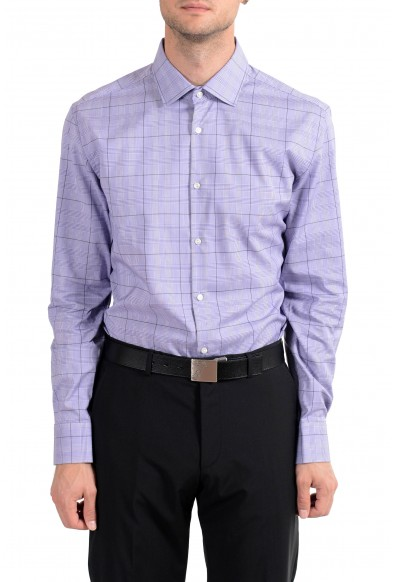 "Hugo Boss ""Juan"" Men's Plaid Purple Slim Fit Long Sleeve Dress Shirt"