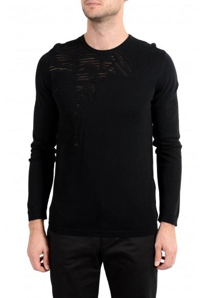 Versace Collection Men's Black Medusa Designed Crewneck Light Sweater