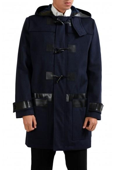 Christian Dior Men's Blue 100% Wool Full Zip Hooded Coat