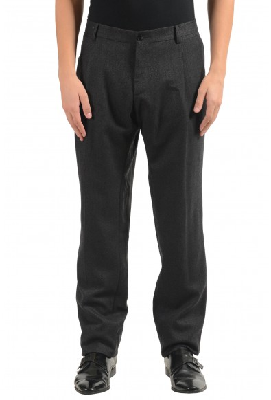 Dolce & Gabbana Men's Gray 100% Wool Pleated Dress Pants