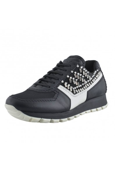 Prada Leather Beads Decorated Fashion Sneakers Shoes