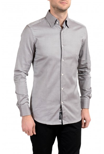 """Hugo Boss """"T-Swen"""" Men's Slim Gray Long Sleeve Dress Shirt"""