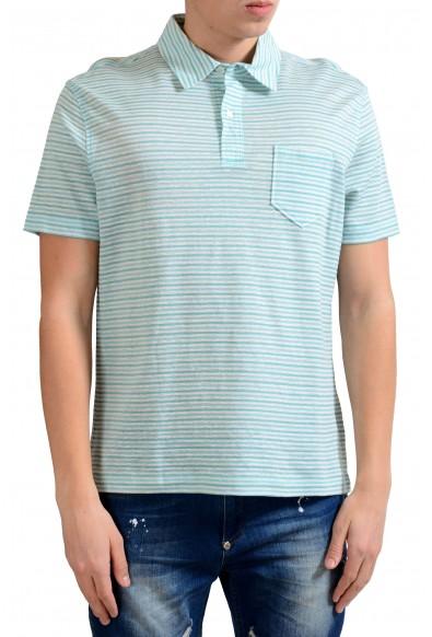Malo Men's Linen Striped Short Sleeve Polo Shirt