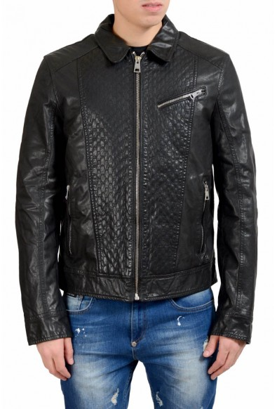 Just Cavalli Men's Black Full Zip 100% Leather Jacket