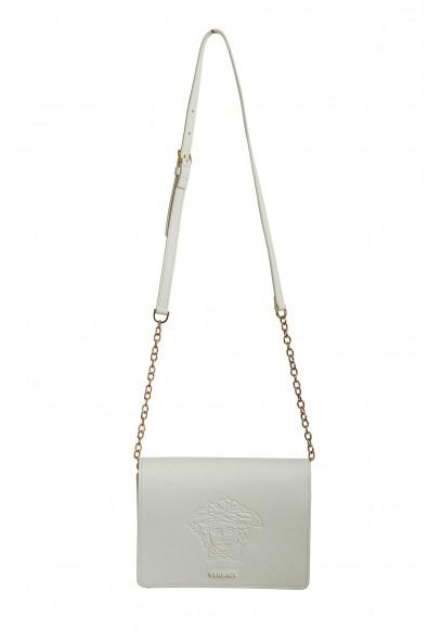 Versace Women's White Medusa Textured Leather Crossbody Bag