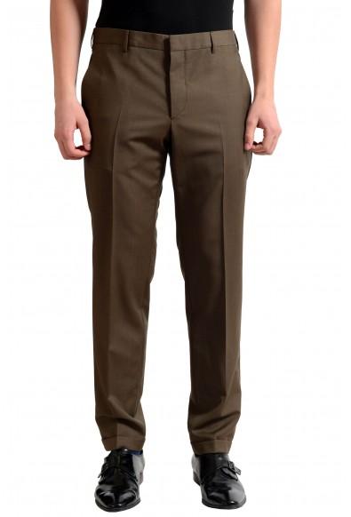 Prada Men's Wool Dark Brown Flat Front Dress Pants