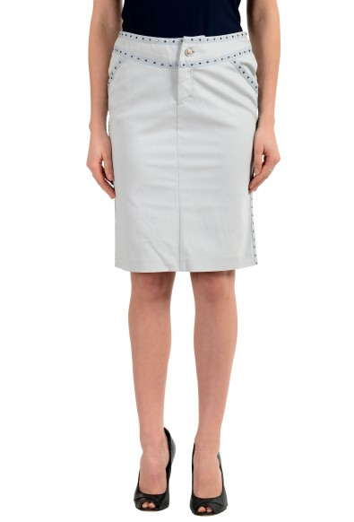 Versace Jeans Couture Women's Gray Embellished Skirt