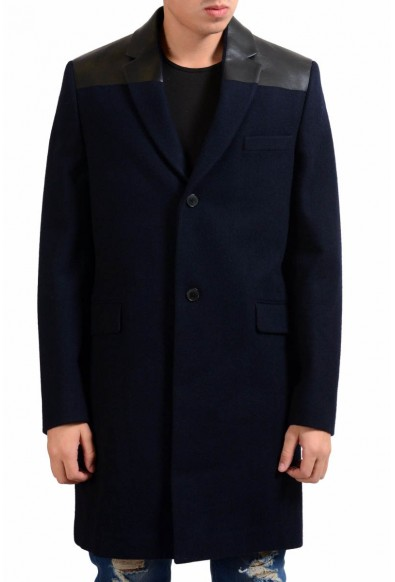 Velentino Men's 100% Wool Leather Navy Blue Two Button Coat