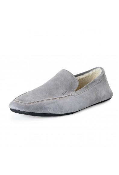 "Salvatore Ferragamo Men's ""FELTRE"" Gray Fur Lining Suede Leather Loafers Shoes"