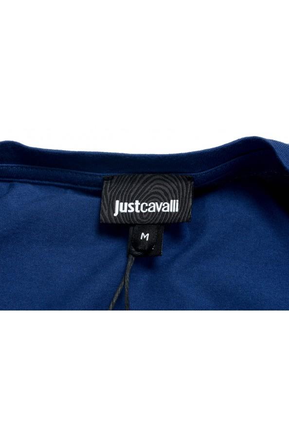 Just Cavalli Men's Blue Graphic Print Crewneck T-Shirt: Picture 7