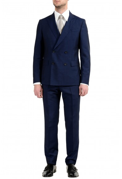 "Hugo Boss ""Namil/Ben2"" Men's Mohair Wool Slim Blue Double Breasted Suit"