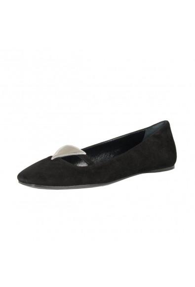 Prada Black Suede Leather Ballet Flats Shoes