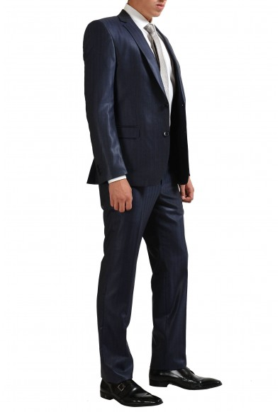 Vesrace Collection 100% Wool Navy Striped Two Button Men's Suit: Picture 2