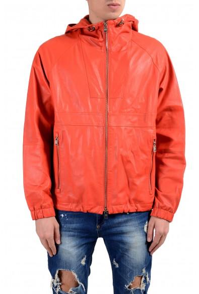 """Hugo Boss """"Carbello"""" Men's 100% Leather Orange Hooded Full Zip Jacket"""