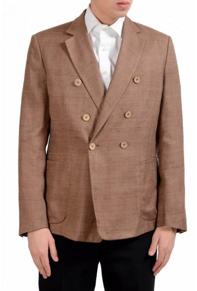 Malo Men's 100% Silk Brown Double Breasted Blazer Sport Coat