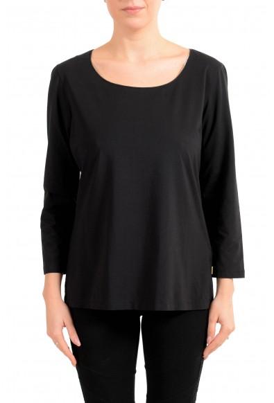 "Hugo Boss Women's ""E4492"" Black Long Sleeve Stretch Blouse Top"