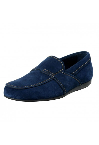 Prada Men's Blue Suede Leather Loafers Slip On Shoes