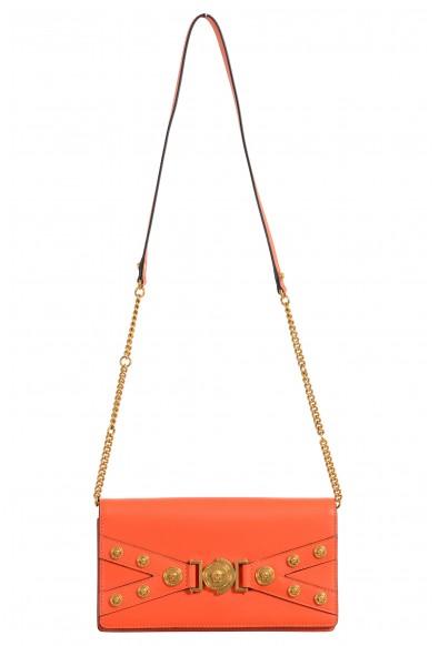 Versace Women's Tribute Orange Leather Clutch Shoulder Bag