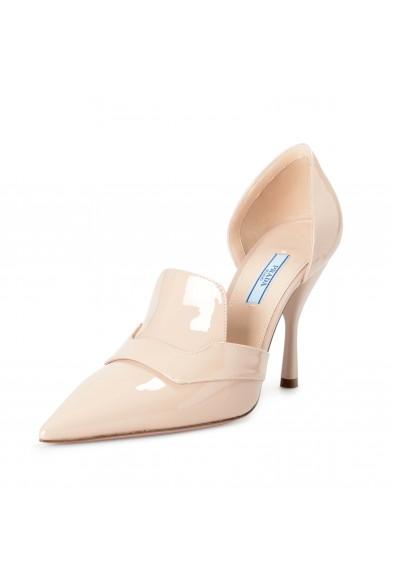 "Prada Women's ""1I232L"" Beige Patent Leather High Heel Pumps Shoes"