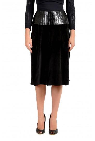 Dolce & Gabbana Women's Black 100% Mink Leather Trimmed Skirt